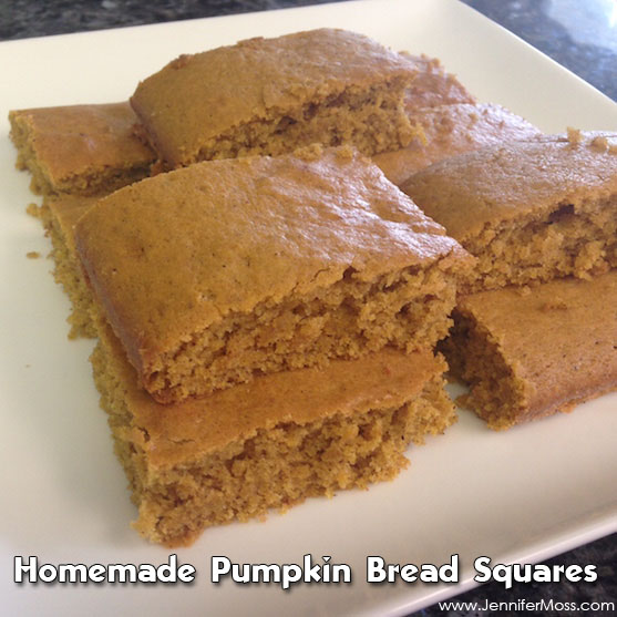 Homemade Pumpkin Bread Squares